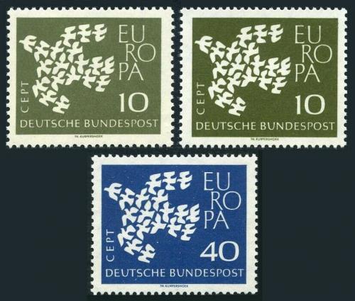 Poštovní známky Nìmecko 1961 Evropa CEPT Mi# 367-68 x, 367 y