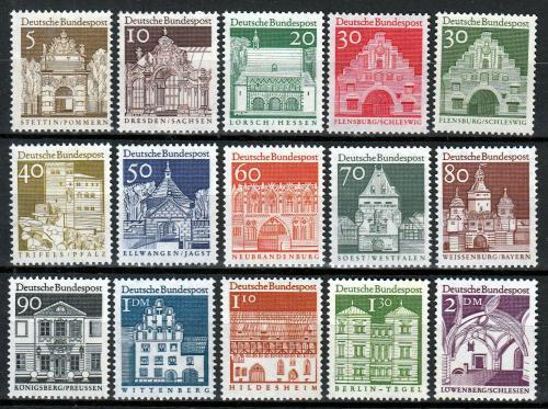 Poštovní známky Nìmecko 1966 Architektura 12. století Mi# 489-503 Kat 20€