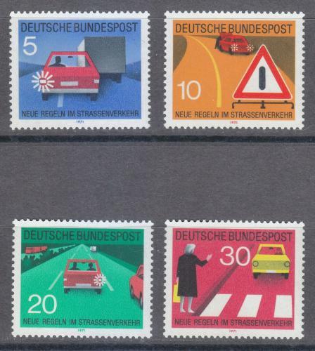 Poštovní známky Nìmecko 1971 Nová dopravní pravidla Mi# 670-73