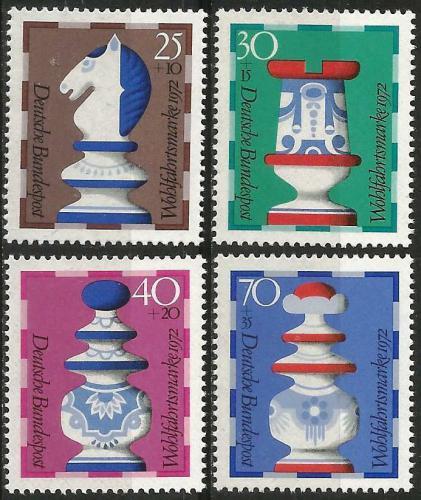 Poštovní známky Nìmecko 1972 Šachové figurky Mi# 742-45