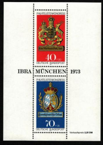 Poštovní známky Nìmecko 1973 Poštovní erby Mi# Block 9