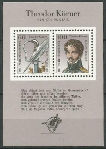Poštovní známka Nìmecko 1991 Theodor Körner, spisovatel Mi# Block 25