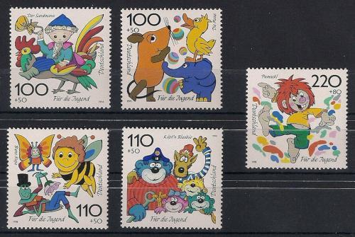 Poštovní známky Nìmecko 1998 Postavièky z animovaných filmù Mi# 1990-94 Kat 11€