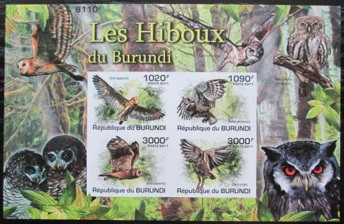 Poštovní známky Burundi 2011 Sovy neperf. Mi# Block 166 B