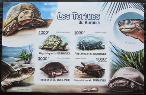 Poštovní známky Burundi 2011 Želvy neperf. Mi# Block 165 B