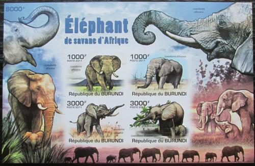 Poštovní známky Burundi 2011 Sloni neperf. Mi# Block 158 B