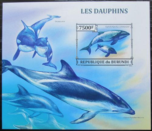 Poštovní známka Burundi 2013 Delfíni neperf. Mi# Block 383 B