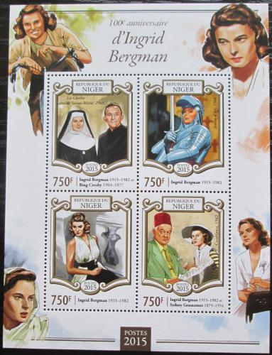 Poštovní známky Niger 2015 Ingrid Bergman, hereèka Mi# Mi# 3345-48 Kat 12€