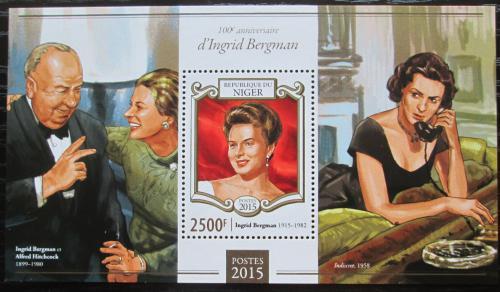 Poštovní známka Niger 2015 Ingrid Bergman, hereèka Mi# Mi# Block 413 Kat 10€
