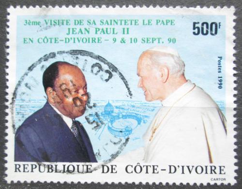Poštovní známka Pobøeží Slonoviny 1990 Papež a prezident Boigny Mi# 1022