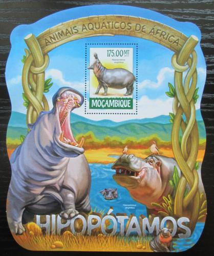 Poštovní známka Mosambik 2015 Hroši Mi# Block 1029 Kat 10€