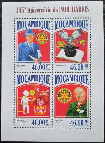 Poštovní známky Mosambik 2013 Paul Harris, Rotary Intl. Mi# 6857-60 Kat 11€