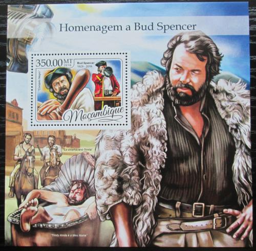 Poštovní známka Mosambik 2016 Bud Spencer, herec Mi# Block 1209 Kat 20€