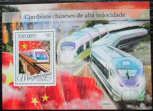 Poštovní známka Mosambik 2016 Moderní èínské lokomotivy Mi# Block 1167 Kat 20€