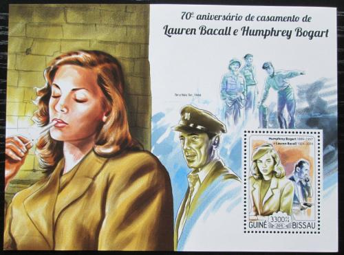 Poštovní známka Guinea-Bissau 2015 Lauren Bacall a Humphrey Bogart Mi# Block 1333 Kat 9€