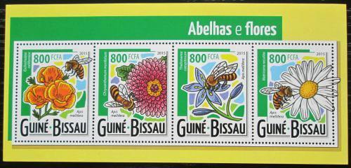 Poštovní známky Guinea-Bissau 2015 Vèely a kvìtiny Mi# 7915-18 Kat 13€