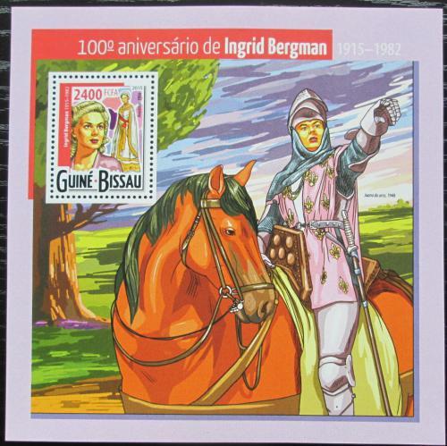 Poštovní známka Guinea-Bissau 2015 Ingrid Bergman, hereèka Mi# Block 1368 Kat 9€