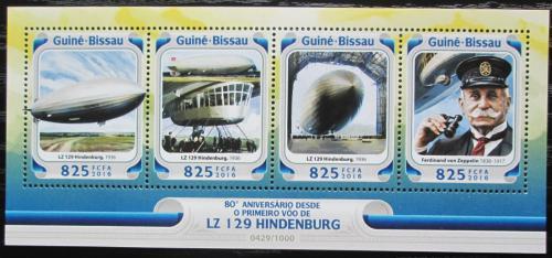 Poštovní známky Guinea-Bissau 2016 Hindenburg LZ 1269 Mi# 8484-87 Kat 12.50€