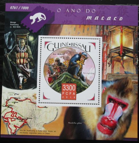 Poštovní známka Guinea-Bissau 2015 Opice Mi# Block 1449 Kat 12.50€