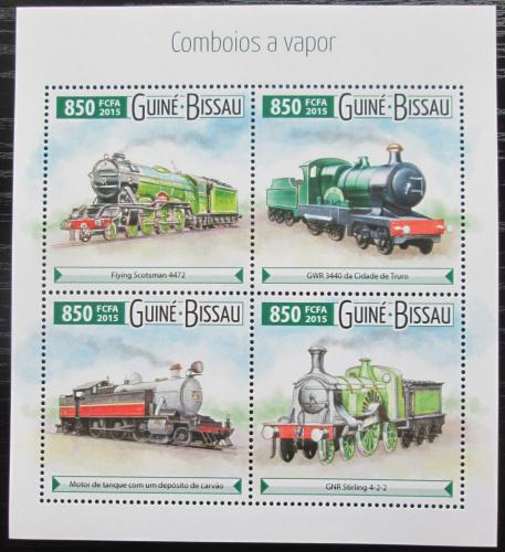 Poštovní známky Guinea-Bissau 2015 Parní lokomotivy Mi# 8092-95 Kat 14€