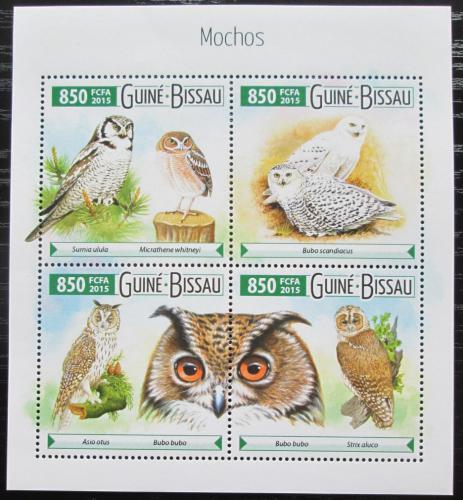 Poštovní známky Guinea-Bissau 2015 Sovy Mi# 8054-57 Kat 12€