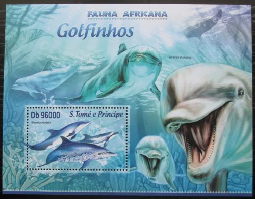 Poštovní známka Svatý Tomáš 2013 Delfíni Mi# Block 890 Kat 10€