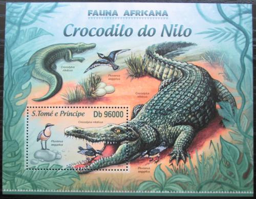 Poštovní známka Svatý Tomáš 2013 Krokodýli Mi# Block 878 Kat 10€