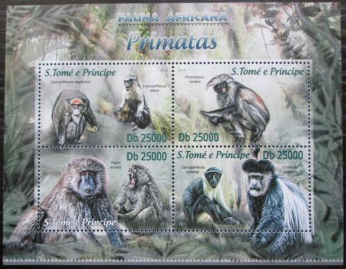 Poštovní známky Svatý Tomáš 2013 Opice Mi# 5140-43 Kat 10€