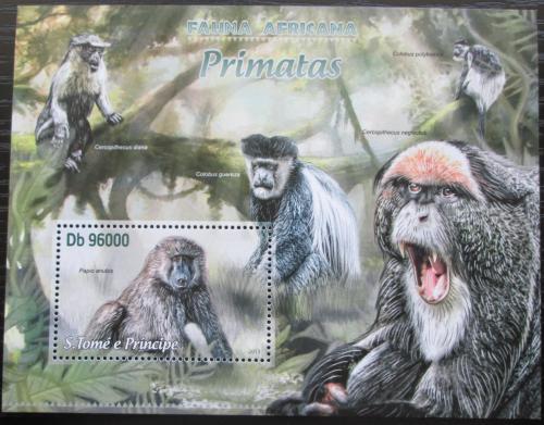 Poštovní známka Svatý Tomáš 2013 Opice Mi# Block 889 Kat 10€