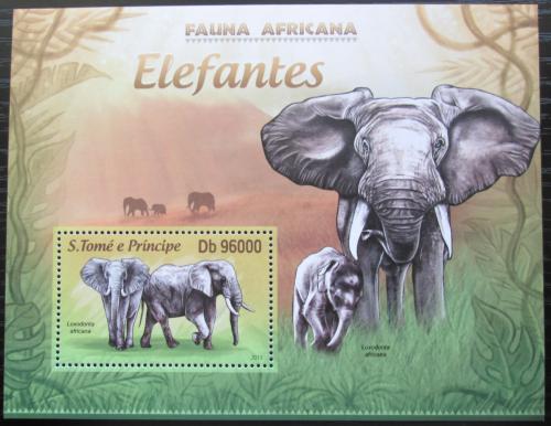 Poštovní známka Svatý Tomáš 2013 Sloni Mi# Block 886 Kat 10€