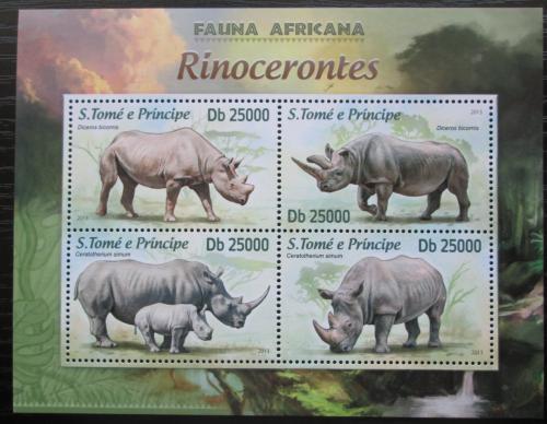 Poštovní známky Svatý Tomáš 2013 Nosorožci Mi# 5124-27 Kat 10€