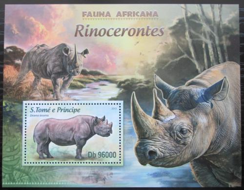 Poštovní známka Svatý Tomáš 2013 Nosorožci Mi# Block 885 Kat 10€