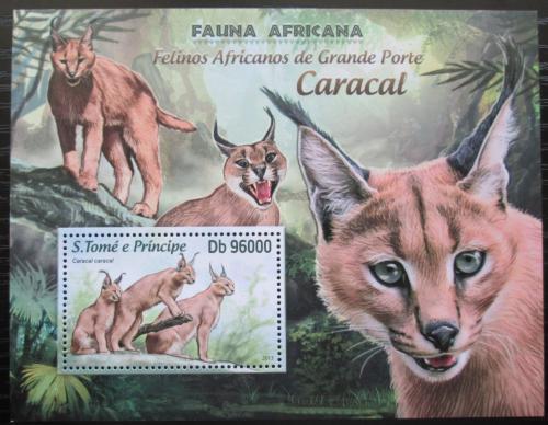 Poštovní známka Svatý Tomáš 2013 Karakal Mi# Block 887 Kat 10€