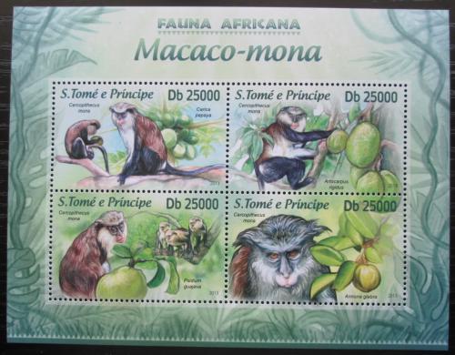 Poštovní známky Svatý Tomáš 2013 Koèkodan mona Mi# 5136-39 Kat 10€