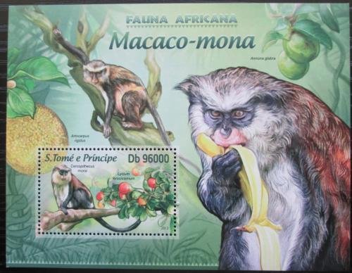 Poštovní známka Svatý Tomáš 2013 Koèkodan mona Mi# Block 888 Kat 10€