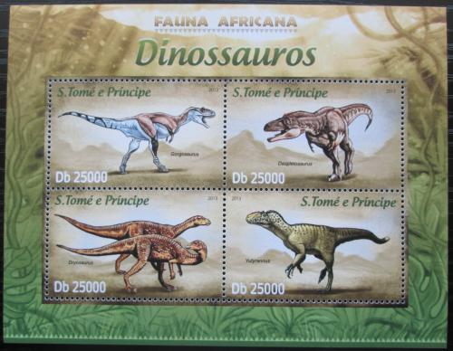 Poštovní známky Svatý Tomáš 2013 Dinosauøi Mi# 5081-84 Kat 10€
