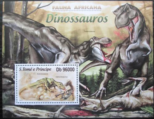 Poštovní známka Svatý Tomáš 2013 Dinosauøi Mi# Block 876 Kat 10€