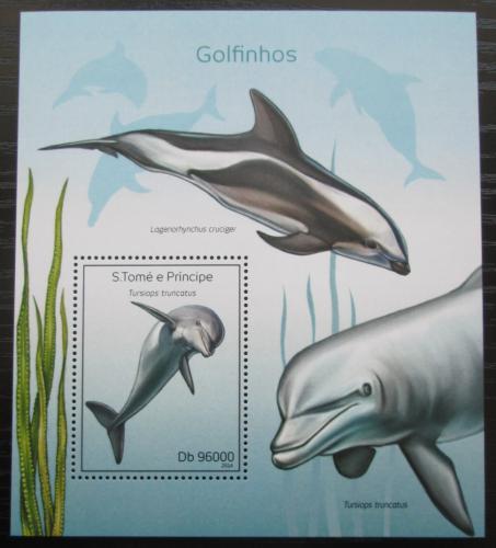 Poštovní známka Svatý Tomáš 2014 Delfíni Mi# Block 981 Kat 10€