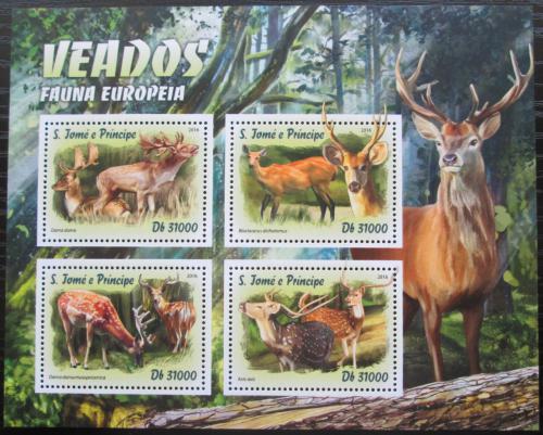 Poštovní známky Svatý Tomáš 2016 Evropští jeleni Mi# 6741-44 Kat 12€
