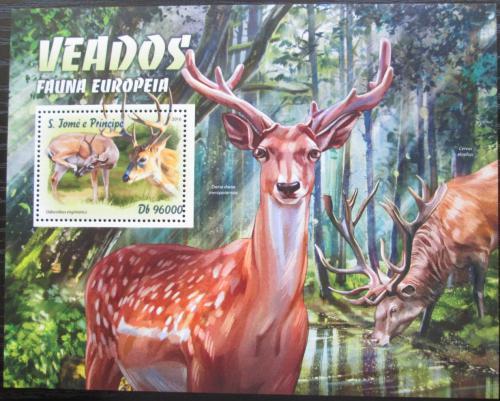 Poštovní známka Svatý Tomáš 2016 Evropští jeleni Mi# Block 1198 Kat 10€