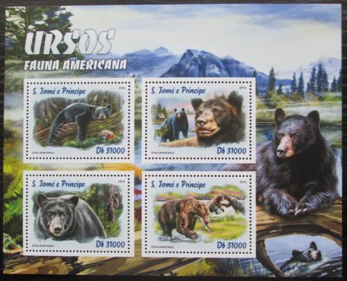 Poštovní známky Svatý Tomáš 2016 Ameriètí medvìdi Mi# 6781-84 Kat 12€