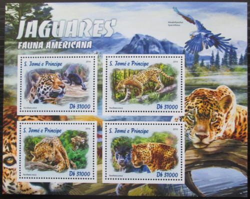 Poštovní známky Svatý Tomáš 2016 Ameriètí jaguáøi Mi# 6786-89 Kat 12€