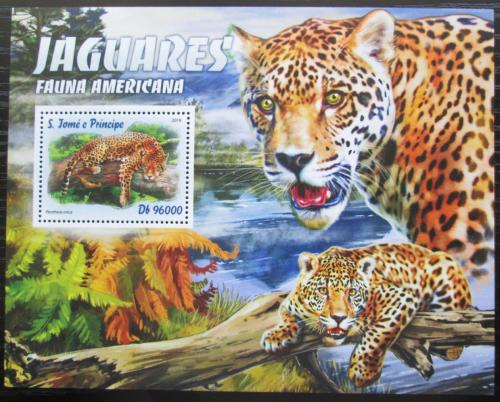 Poštovní známka Svatý Tomáš 2016 Ameriètí jaguáøi Mi# Block 1207 Kat 10€