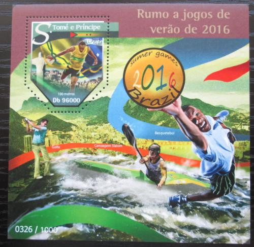 Poštovní známka Svatý Tomáš 2015 LOH Rio de Janeiro Mi# Block 1151 Kat 10€