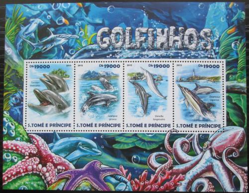 Poštovní známky Svatý Tomáš 2015 Delfíni Mi# 6176-79