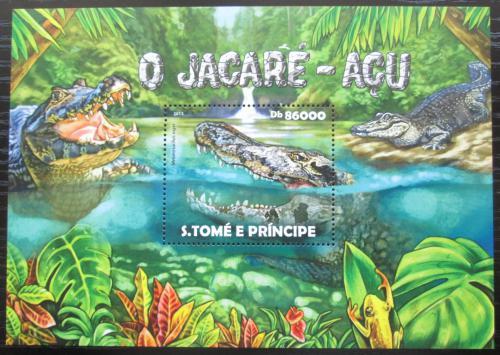 Poštovní známka Svatý Tomáš 2015 Kajman èerný Mi# Block 1079 Kat 8.50€
