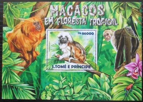 Poštovní známka Svatý Tomáš 2015 Opice Mi# Block 1089 Kat 8.50€