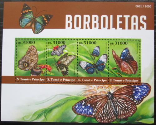 Poštovní známky Svatý Tomáš 2015 Motýli Mi# 6203-06 Kat 12€