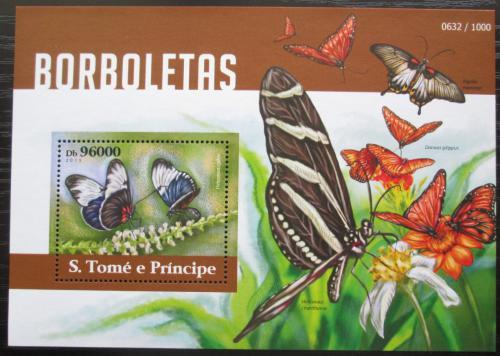 Poštovní známka Svatý Tomáš 2015 Motýli Mi# Block 1094 Kat 10€