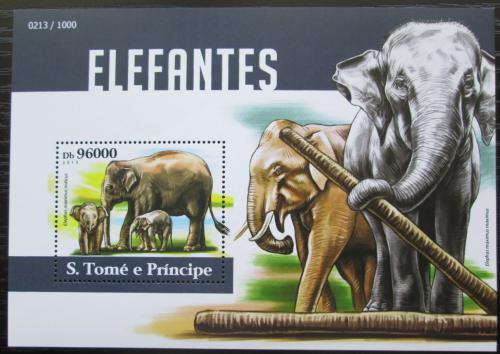 Poštovní známka Svatý Tomáš 2015 Sloni Mi# Block 1120 Kat 10€